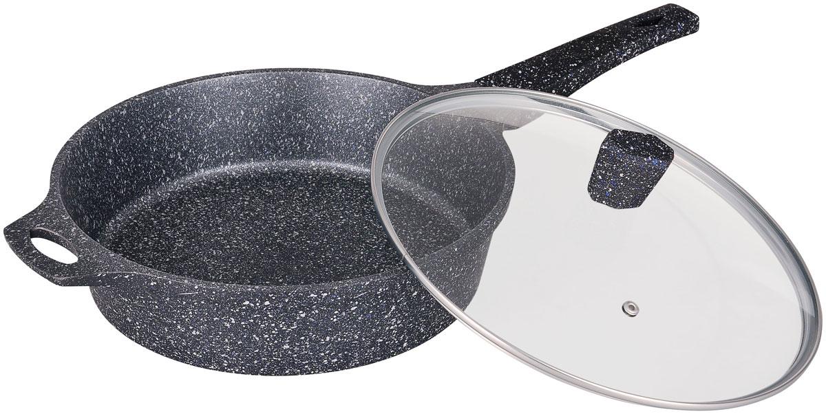 Сотейник Winner Marble coating с крышкой, с мраморным покрытием. Диаметр 28 см54 009312Сотейник Winner Marble coating выполнен из алюминия, который обладает не только превосходными теплораспределительными свойствами, но и устойчивостью к деформации даже при интенсивном использовании. Мраморное покрытие не содержит PFOA и абсолютно безопасно для здоровья. Толщина дна и высота бортов сотейника оптимальны для различных способов приготовления. Крышка из термостойкого стекла позволяет следить за процессом приготовления без потери тепла. Специальное отверстие для выхода пара позволяет готовить с закрытой крышкой, предотвращая выкипание.Сотейник оснащен бакелитовой ручкой, благодаря чему он не выскальзывает из рук.Изделие подходит для всех плит, включая индукционные. Также его можно мыть в посудомоечной машине. Диаметр сотейника: 28 см. Высота стенки: 7,5 см.