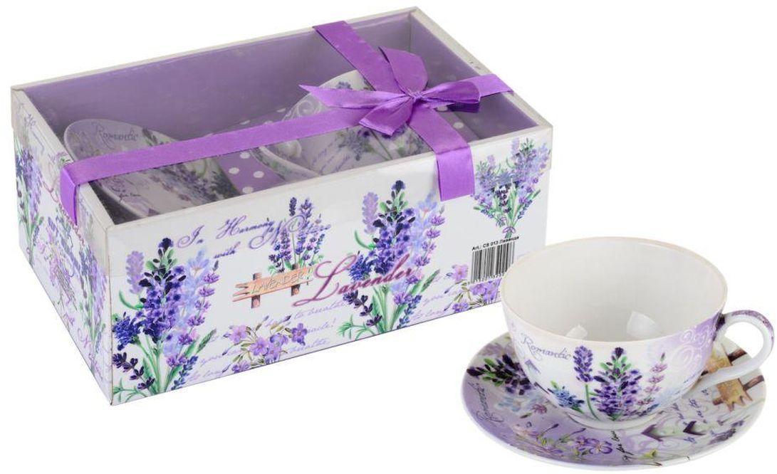 Чайная пара GiftnHome Лаванда, 260 мл, 2 предмета115510Чашка с блюдцем из костяного фарфора, упаковка-картон, PVC