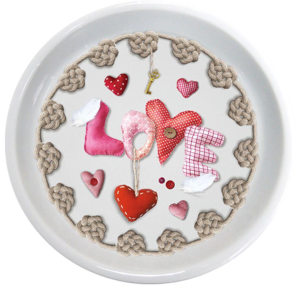 Крышка-блюдце GiftnHome Сердечки любви54 009312Крыжка-блюдце из фарфора, упаковка PVC! Изображение с двух сторон