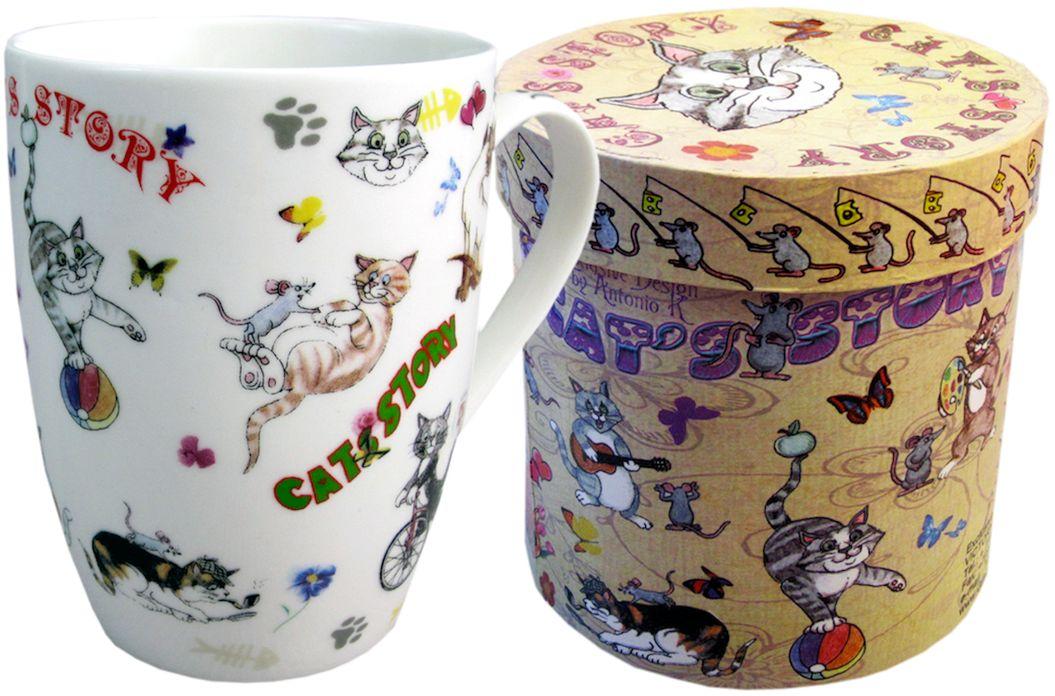 Кружка GiftnHome Кошки-мышки, 320 мл115510Кружка изготовлена из костяного фарфора, в подарочной коробке из картона