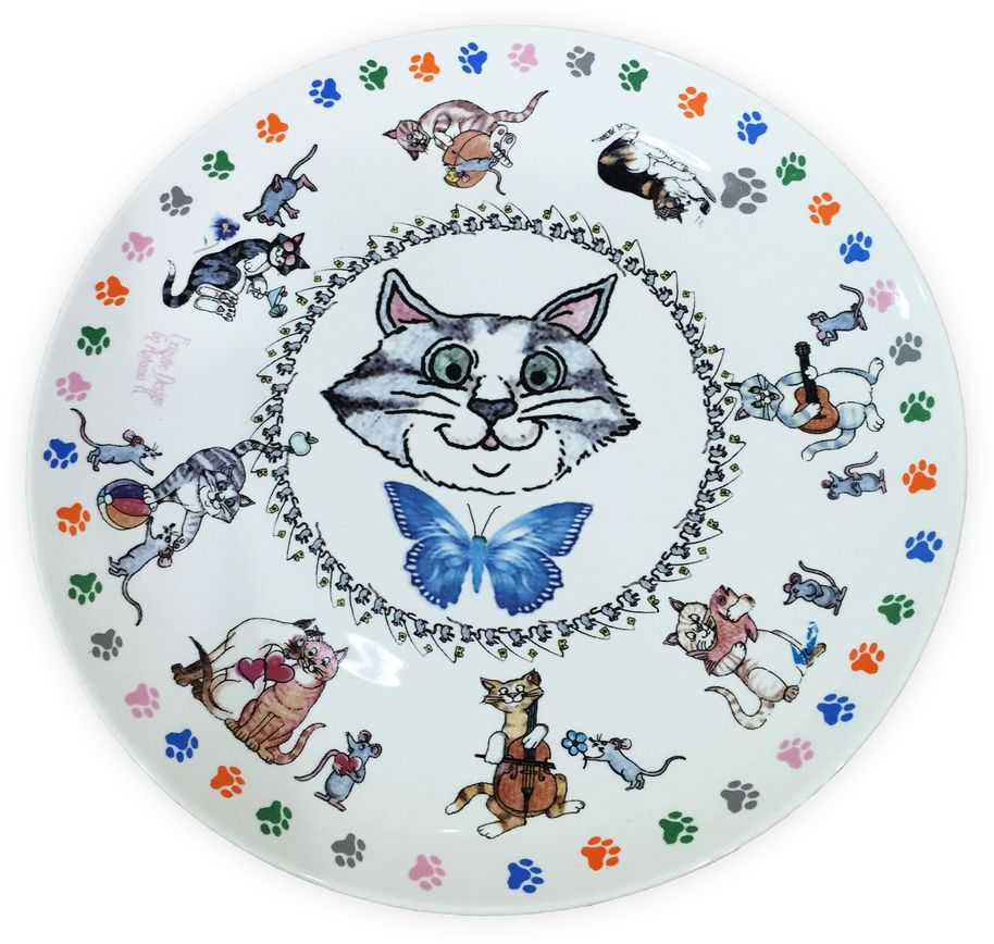 Набор тарелок GiftnHome Кошки-мышки, диаметр 20 см, 4 шт85-250*250-027/белТарелка из костяного фарфора, набор упакован в картонную коробку