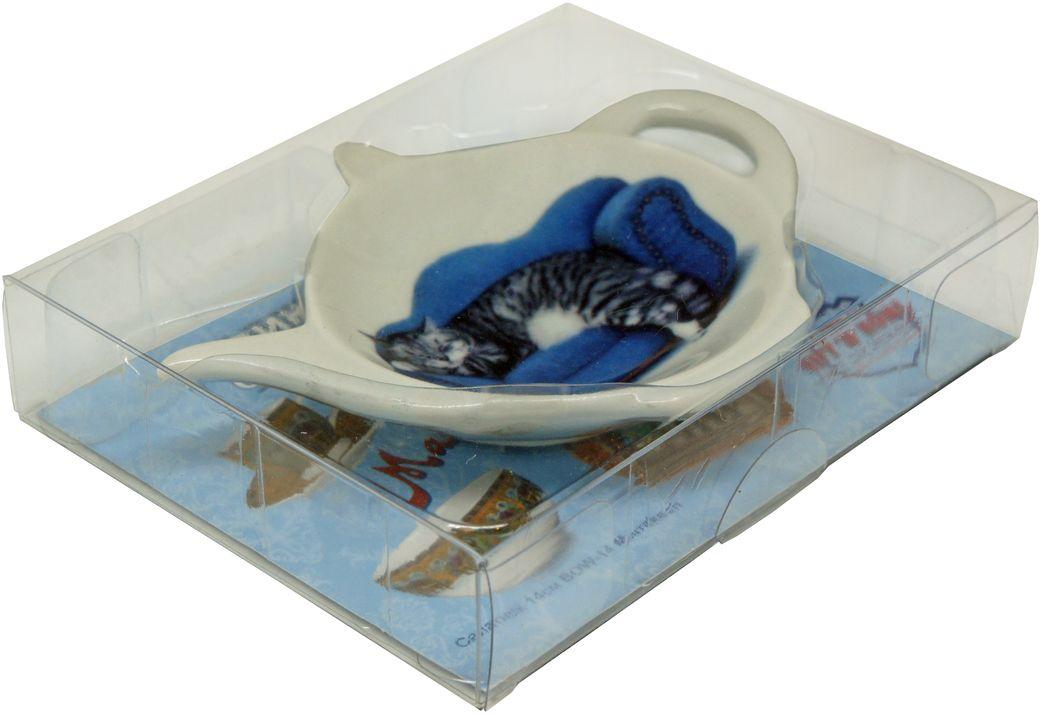Подставка GiftnHome Кот, под чайные пакетики115610Блюдце из фарфора, упаковка PVC