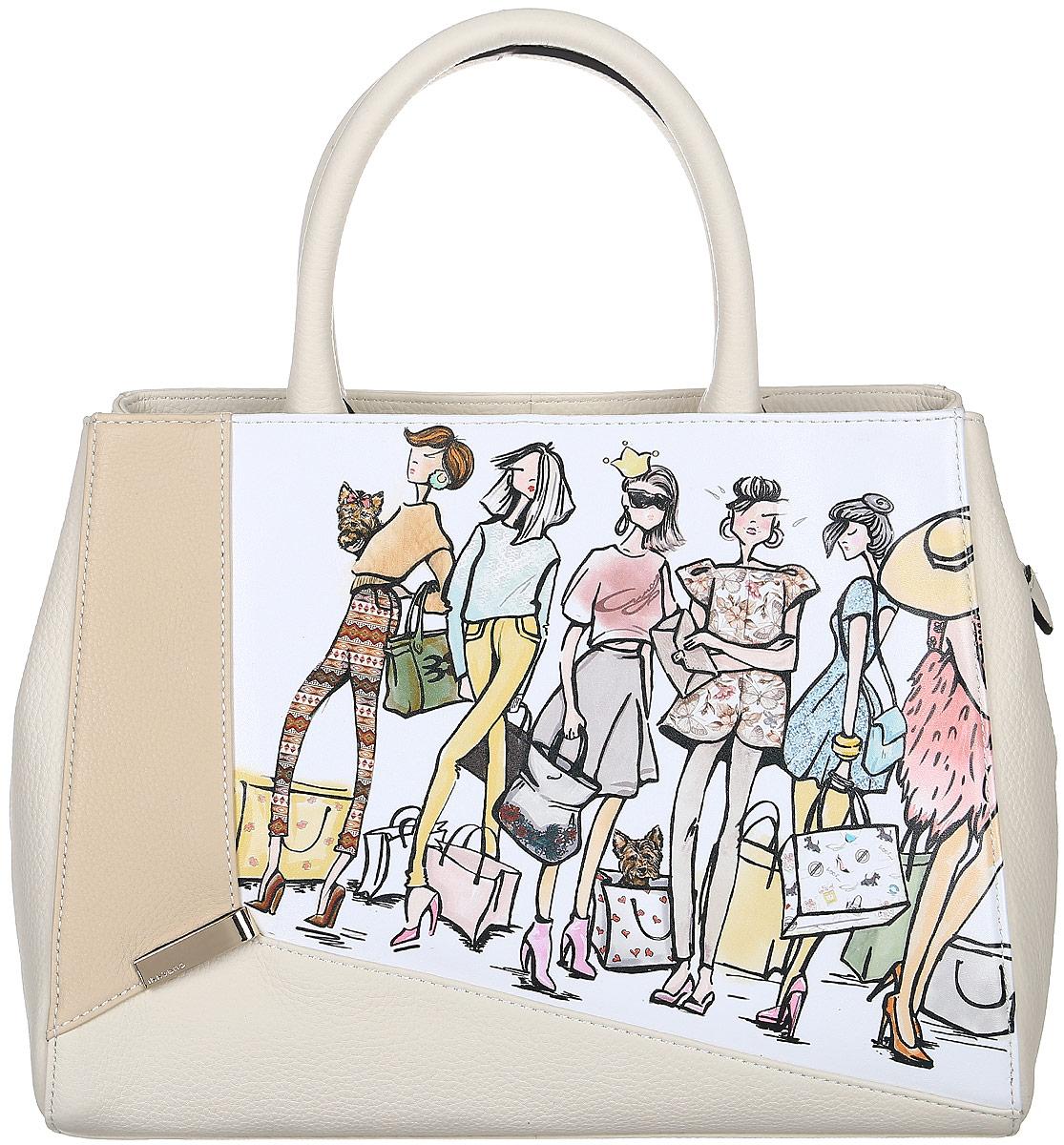 Сумка жен Curanni Пупа, цвет: бежевый. 2044BM8434-58AEЭлегантная сумка итальянского бренда Curanni от известной дизайнерской студии Sepani lab, сделана из натуральной кожи. Такая модель превосходно дополнит любой образ. Благодаря хорошей вместительности будет очень удобна для повседневного использования, что по достоинству оценит любая девушка. Внутри: один карман на потайной молнии, подойдет для документов или мелочей, другие два кармана без молнии также подойдут для мелочей или мобильного телефона. Внутри сумки два отдела разделенные карманом на молнии. Снаружи: кармана на тыльной стороне сумочки на молнии.