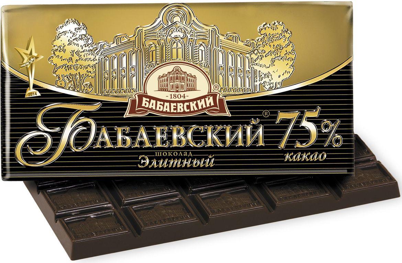 Бабаевский элитный 75% какао темный шоколад, 100 г1093Гордость бренда Бабаевский - высококачественный темный шоколад, созданный с использованием отборных какао бобов и какао масла.