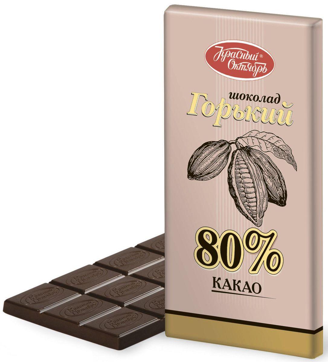 Красный Октябрь горький 80% какао шоколад, 75 г0120710Красный Октябрь - уникальный пример в истории российского кондитерского дела, ведь таким количеством знаменитых марок, пожалуй, не может похвастаться ни один другой производитель в России.