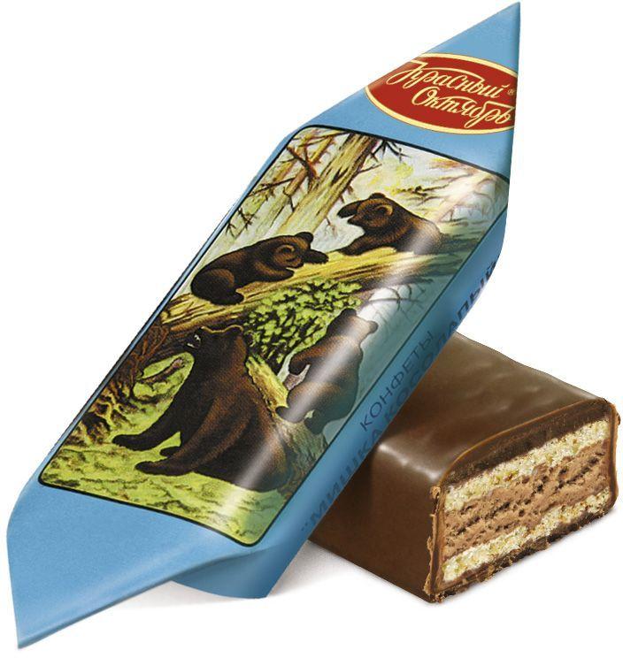 Красный Октябрь Мишка косолапый конфеты с вафельной начинкой в шоколадной глазури, 250 г0120710Знаменитые московские конфеты, напоминают Вкус Детства!