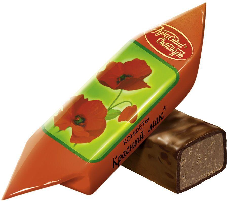 Красный Октябрь Красный мак конфеты с пралине с добавлением дробленой карамели и вафель в шоколадной глазури, 250 г0120710Знаменитые московские конфеты напоминают вкус детства!