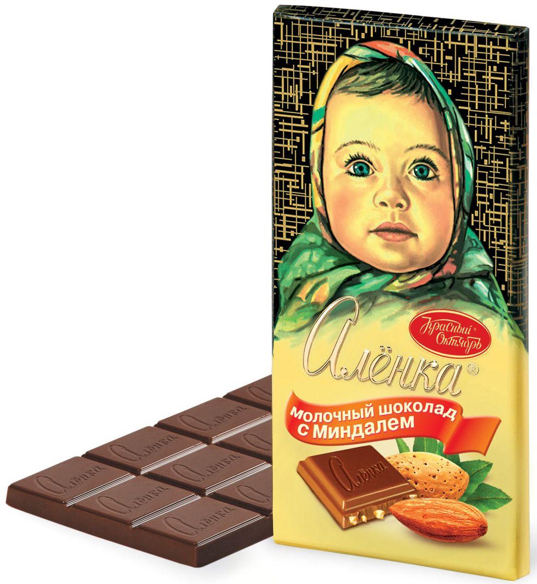 Красный Октябрь Аленка с миндалем молочный шоколад, 100 г4008817Знаменитый шоколад Алёнка выпускается кондитерской фабрикой Красный Октябрь.