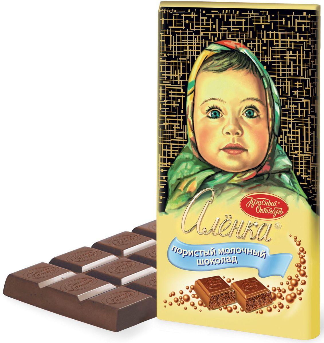 Красный Октябрь Аленка Пористый молочный шоколад, 95 г0120710Знаменитый шоколад Алёнка выпускается кондитерской фабрикой Красный Октябрь.