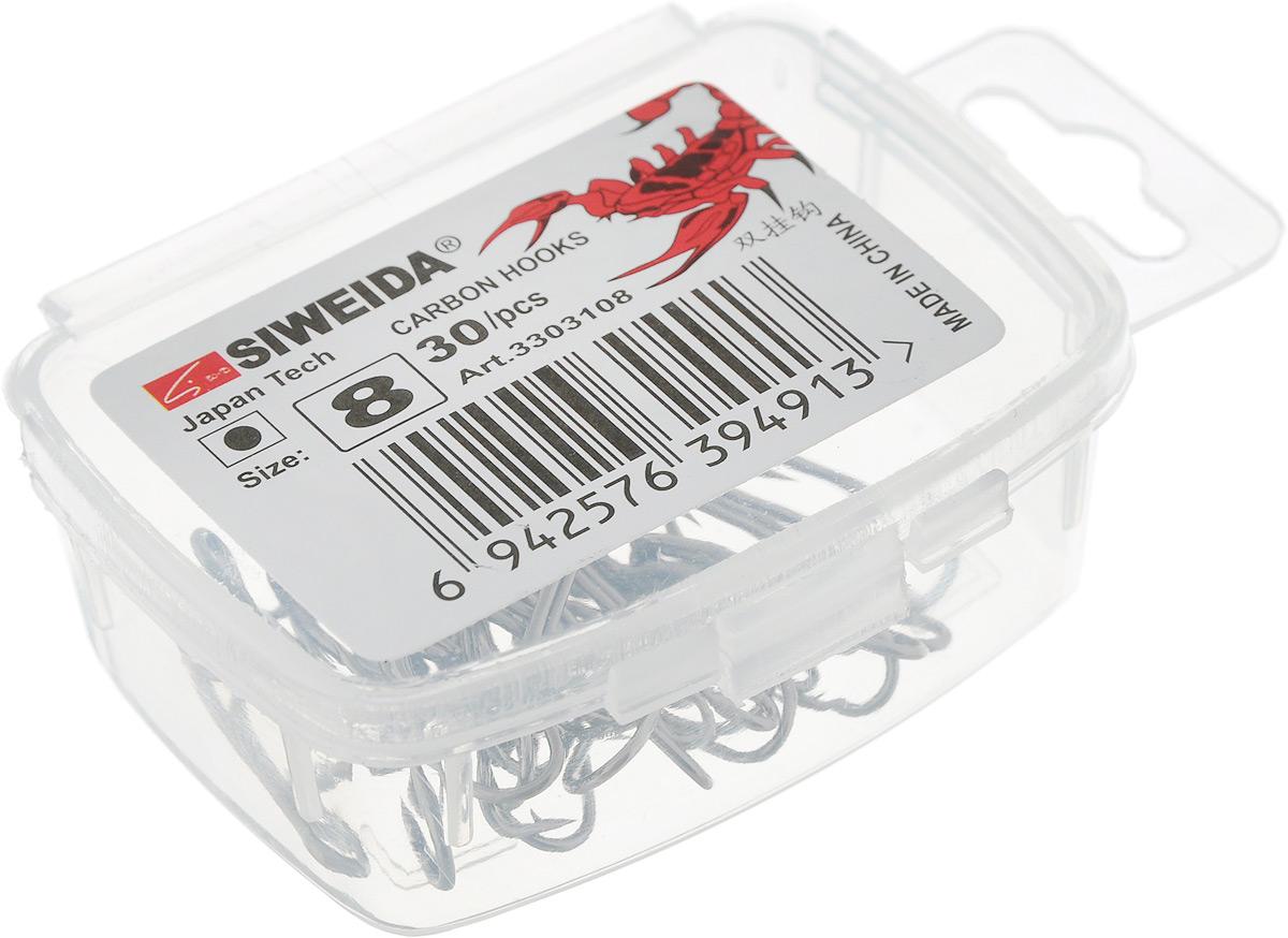 Крючок рыболовный SWD Scorpion, двойной, №8, 30 штPGPS7797CIS08GBNVБюджетный двойной крючок SWD Scorpion выполнен из высококачественной углеродистой легированной проволоки. Применяется новейшая технология термообработки. Стойкое антикоррозийное покрытие обеспечивает крючкам долгий срок эксплуатации. Жала крючков подвержены электрохимической обработке.