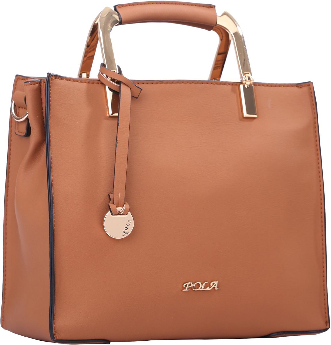 Сумка женская Pola, цвет: рыже-коричневый. 64439BM8434-58AEЖенская сумка Pola выполнена из экокожи, сверху закрывается на молнию. Внутри основное отделение разделено на две части карманом на молнии. Дополнительно внутри два небольших открытых кармана и кармашек на молнии. В комплекте съемный, регулируемый по длине плечевой ремень, максимальной высотой 61 см. Ручки для переноски в руке металлические, высотой 6 см. Цвет фурнитуры- золото.