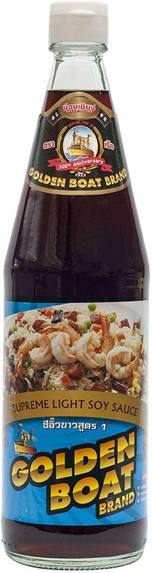Golden Boat Соус соевый светлый Премиум, 700 мл0120710Идеально подходит для пельменей и утки по-пекински, а также для обмакивания сприг-роллов и жирного мяса.Натуральный соевый соус естественного брожения (выдерживается в бочках 2,5 года). Расфасован в удобную упаковку (стеклянная тара), которая гарантирует сохранение вкуса и аромата соуса вплоть до истечения срока годности.
