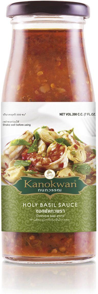 Kanokwan Соус базиликовый для вока, 200 мл0120710Используется для приготовления блюд тайской кухни. Этот остро-соленый соус с ароматом священного тайского базилика идеально подходит для обжарки мяса, овощей, морепродуктов. Для настоящих остроедов и любителей тайской кухни.