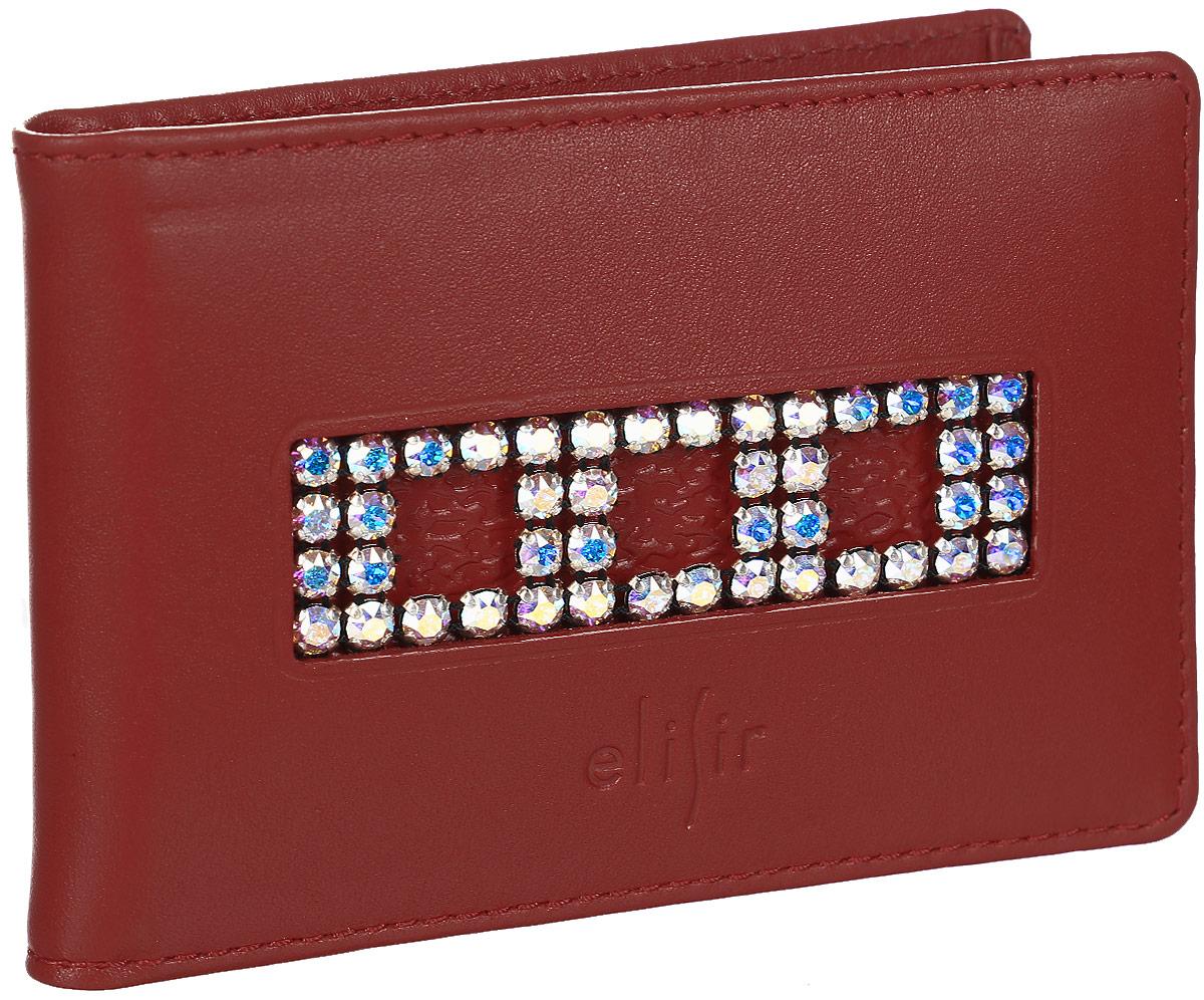 Визитница женская Elisir Классик красный, цвет: красный. EL-FL235-FW0027-000INT-06501Визитница Elisir выполнена из натуральной кожи. Коллекция Классик красный с композицией из белых кристаллов Swarovski. Внутри 4 кармана для кредиток и пластиковый блок на 28 карт или визиток. Лист на 1 карту. Упакована в подарочную коробку.