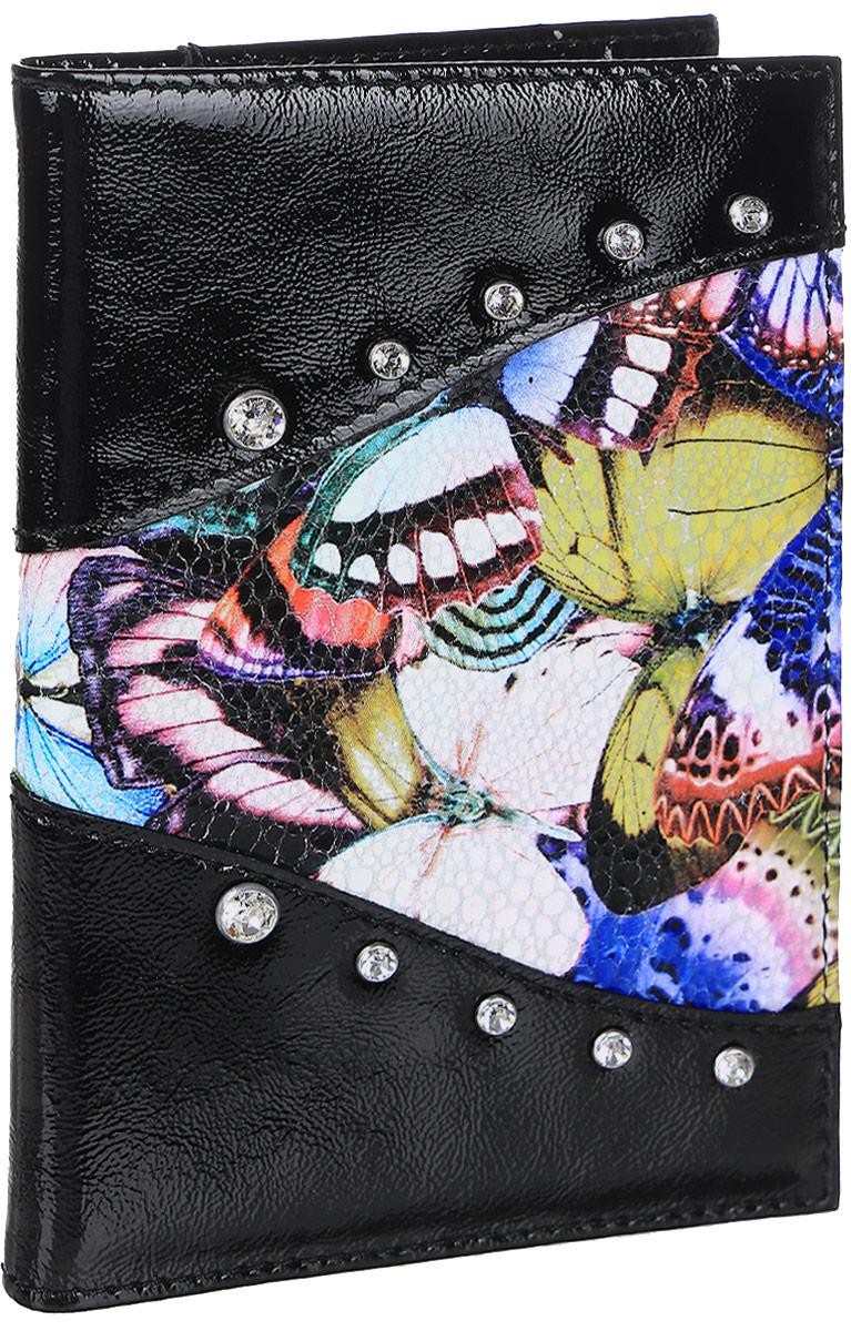 Обложка для паспорта Elisir Butterfly, цвет: черный. EL-NK271-OP0031-0003430329Обложка для паспорта Butterfly, коллекция Butterfly с кристаллами Swarovski, из натуральной кожи. Внутри карманы из пластика и 3 полукармана из кожи. Упакована в подарочную коробку Elisir.