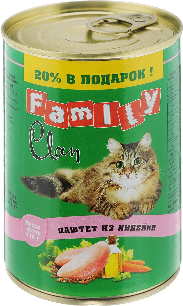 Консервы для кошек Clan Family, паштет из индейки, 415 г0120710Полнорационный влажный корм Clan Family для каждодневного питания кошек. Консервы изготовлены из высококачественного отечественного мясного сырья. У корма насыщенный вкус и сбалансированный состав. Способствует профилактике мочекаменной болезни. Состав: фарш индейки и мясные субпродукты, желирующая добавка, рыбная мука, рыбий жир, сухие дрожжи, таурин, растительное масло, калия хлорид, сухой яичный желток, калия нитрат, йодированная соль, вода.Анализ: сырой протеин 8,7%, сырой жир 6%, сырая зола 2%, поваренная соль 0,4-0,7 г, таурин 0,2 г, фосфор 0,5 г, кальций 0,6 г. Энергетическая ценность в 100 г продукта: 88,8 кКал.Товар сертифицирован.