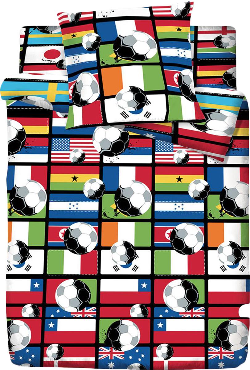 Комплект белья Браво Кидс Футбол, 1,5-спальное, наволочки 70x70, цвет: разноцветный391602BRAVO Kids Dreams - линейка постельного белья для детей и подростков из прекрасной ткани LUX COTTON (высококачественный поплин). Это современные забавные и яркие дизайны, которые украсят любой интерьер детской комнаты и долго будут радовать своих обладателей высоким качеством и отличным внешним видом. • Равноплотная ткань из 100% хлопка;• Обработана по технологии мерсеризации и санфоризации;• Мягкая и нежная на ощупь;• Устойчива к трению;• Обладает высокими показателями гигроскопичности (впитывает влагу);• Выдерживает частые стирки, сохраняя первоначальные цвет, форму и размеры;• Безопасные красители ведущего немецкого производителя BEZEMA • Лауреат премии Золотой медвежонок