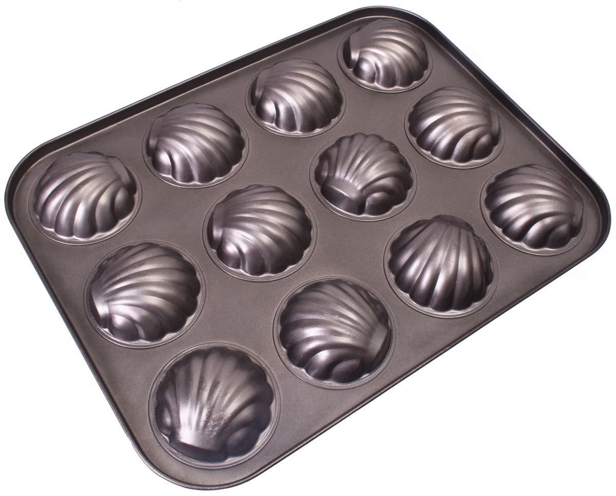 Форма для выпечки Vetta Печенье. Ракушка, 12 ячеек, 35 x 26,5 смПЦ2226ЛМФорма для выпечки Vetta изготовлена из стали с антипригарным покрытием. Такая форма найдет свое применение для выпечки большинства кулинарных шедевров. Форма равномерно и быстро прогревается, выпечка пропекается равномерно. Благодаря антипригарному покрытию, готовый продукт легко вынимается, а чистка формы не составит большого труда.Какое бы блюдо вы не приготовили, результат будет превосходным!