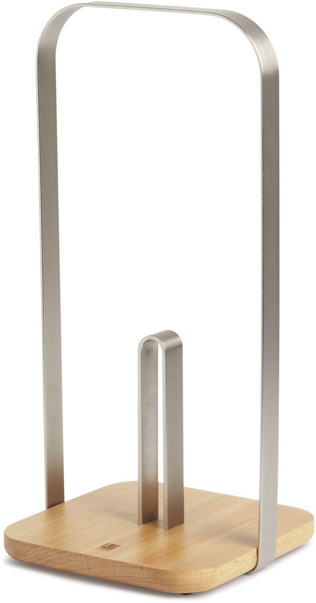 Держатель для бумажных полотенец Umbra PILA, цвет: никель, 15,8 х 16,5 х 35 смVT-1520(SR)Удобная подставка для рулонных полотенец с основанием из натурального бука. Широкая рукоять обеспечивает комфортную переноску. Дизайн: Eugenie De Loynes