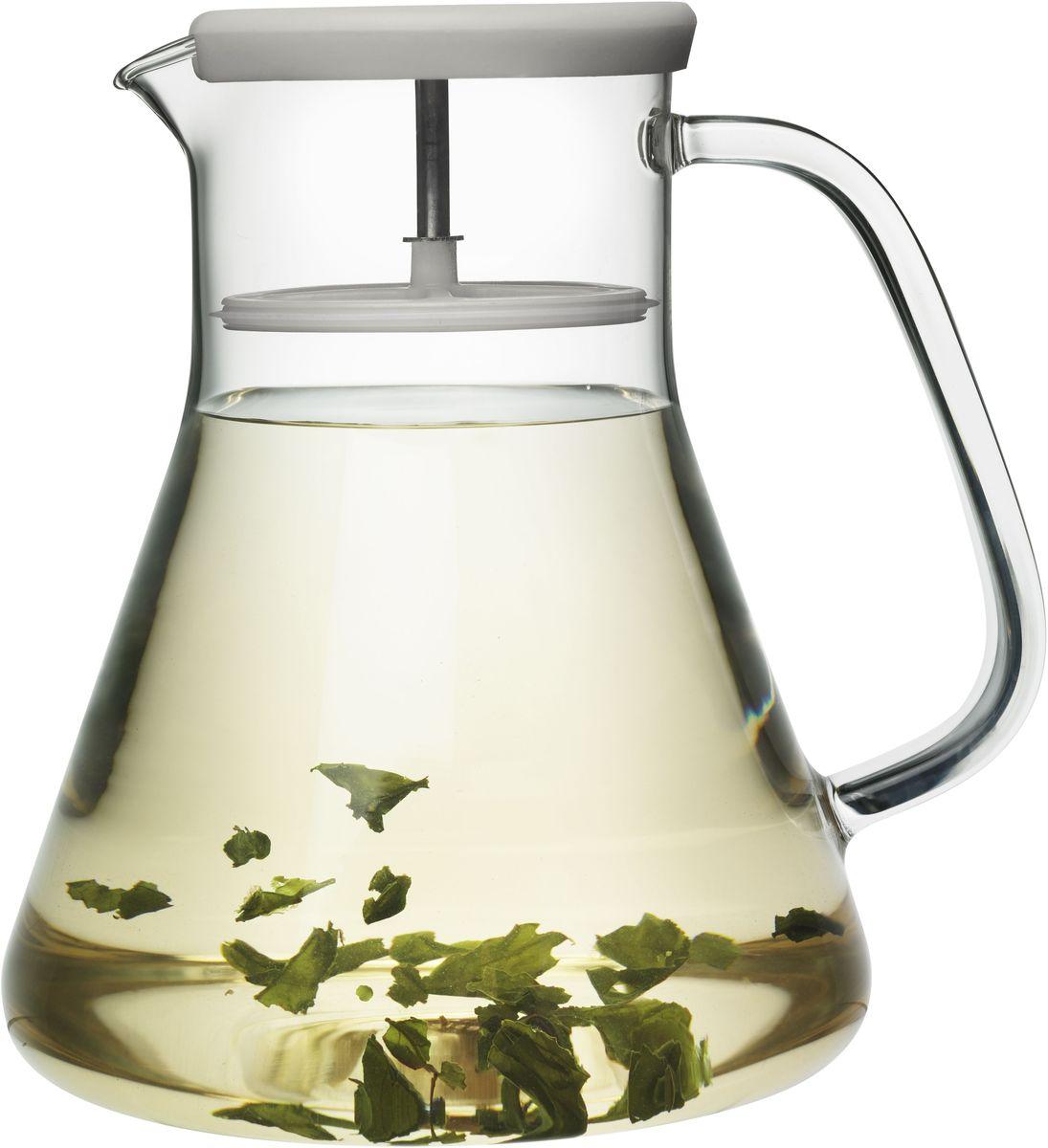 Чайник заварочный QDO Dancing Leaf, цвет: зеленыйVT-1520(SR)Универсальный стеклянный кувшин с встроенным фильтром. Идеален для подачи холодных лимонадов, ягодных морсов, чая и других подобных напитков. Благодаря фильтру кусочки льда, фруктов, ягод, мяты и чайных листьев не попадут в чашку. Кроме того, кувшин изготовлен из термоустойчивого боросиликатного стекла, что позволяет заваривать чай прямо внутри него. Просто поместите в кувшин нужное количество чая, залейте горячей водой и дайте настояться. Фильтр соединен с силиконовой крышкой и легко вынимается при необходимости. Объем кувшина - 1,2 л. Можно мыть в посудомоечной машине.