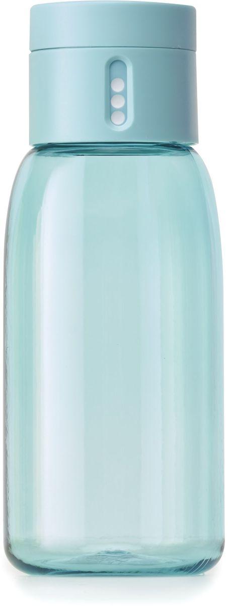 Бутылка для воды Joseph Joseph Dot, цвет: бирюзовый, 400 мл81048Уникальная бутылка Dot в новом компактном размере. Инновационное решение для контроля ежедневного потребление воды без использования электронных гаджетов. Крышка со счетчиком фиксирует каждое наполнение бутылки в течение дня. Просто закрутите крышку до появления точки, а для питья используйте верхнюю крышку. Новая точка появится каждый раз, когда бутылка заново заполнена и крышка закручена. Из гладкого литого носика бутылки удобно пить даже на ходу или в машине. Широкое горлышко идеально для насыпания льда или фруктов и мытья. Герметичная крышка надежно защищает содержимое от протекания. Бутылка изготовлена из экологичного и удапрочного материала Tritan.Объем - 400 мл.