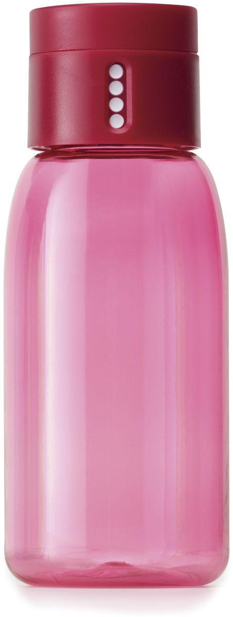 Бутылка для воды Joseph Joseph Dot, цвет: розовый, 400 мл81052Бутылка для воды Joseph Joseph Dot- уникальная бутылка, которая поможет вам контролировать ежедневное потребление воды. Инновационная крышка со счетчиком запомнит каждое наполнение бутылки в течение дня. Просто закрутите крышку до появления точки, а для питья используйте верхнюю крышку. Новая точка появится каждый раз, когда бутылка заново заполнена и крышка закручена. Из гладкого литого носика бутылки удобно пить, а широкое горлышко идеально для насыпания льда и мытья. Герметичная крышка надежно защитит содержимое от вытекания. Бутылка изготовлена из экологичного и ударопрочного материала Tritan.Объем - 400 мл.