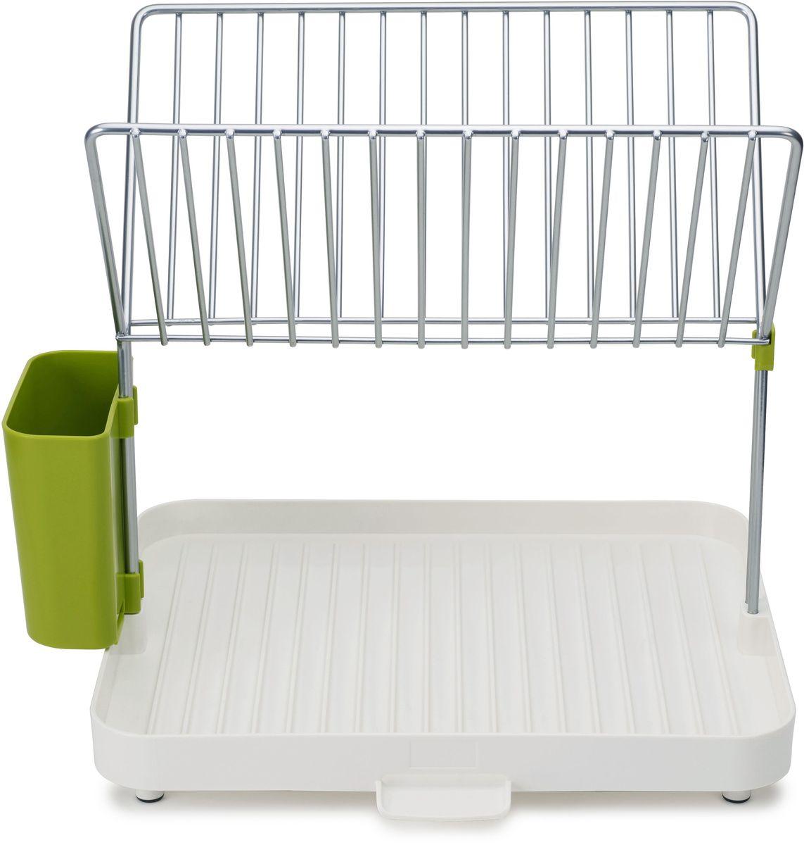 Сушилка для посуды и столовых приборов Joseph Joseph Y-rack, 2-уровневая, со сливом, 36,5 х 30,4 х 28,2 смVT-1520(SR)Сушилка для посуды и столовых приборов Joseph Joseph Y-rack- эргономичная сушилка для посуды, позволяющая сэкономить место на кухне. Двухуровневая конструкция состоит из устойчивого основания для кастрюль, сковородок и чашек и из верхней решетки, вмещающей до 15 тарелок и блюдец. Объемное отделение со сливом предоставляет возможность тщательно осушить до 4 комплектов посуды — и все это на минимальном участке пространства. Вода свободно стекает по желобкам, расположенным у основания под наклоном, а встроенный носик позволяет быстро сливать жидкость прямо в раковину. Нескользящие ножки обеспечивают устойчивость. Конструкция разбирается на части для легкой очистки.Инструкции по сборке идут в комплекте.