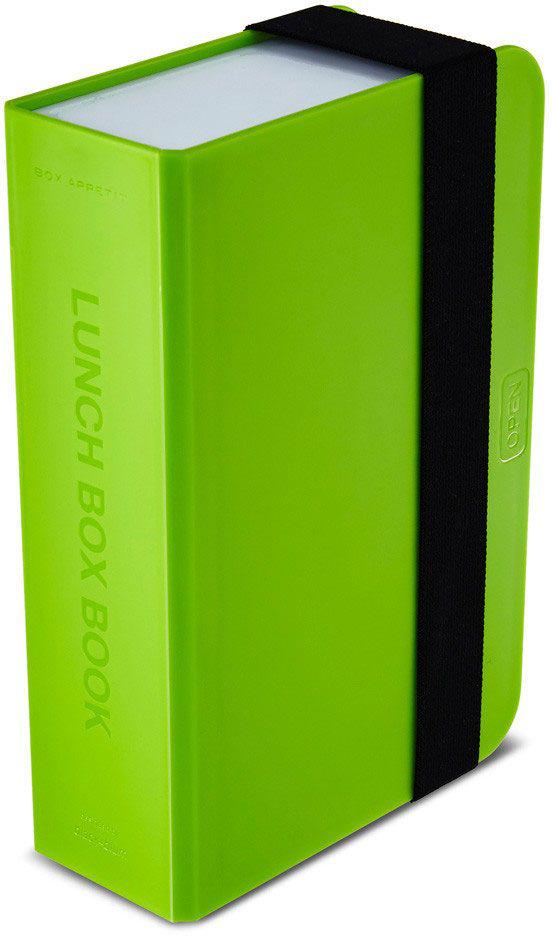 Ланч-бокс Black+Blum Box Book, цвет: лайм, 6,8 х 22,5 х 1521395599Оригинальный ланч-бокс в виде книги. Вместительный контейнер позволяет брать с собой не только еду, но и небольшую бутылку любимого напитка. Во внутренней части предусмотрен съемный пластиковый разделитель, который необходим для разграничения порций или видов пищи. Скругленная форма углов придает дизайну дополнительную изюминку - такой необычный ланч-бокс станет хорошим подарком для всех ценителей здорового образа жизни.Изделие дополнено эластичным держателем, плотно фиксирующим крышку и лоток. Модель изготовлена из полипропилена, в составе отсутствуют вредные BPА. Крышка бокса откидывается, ее можно использовать в качестве тарелки или подставки для еды.