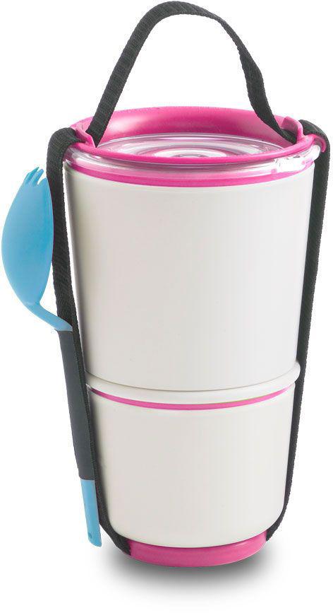 Ланч-бокс Black+Blum Lunch Pot, цвет: белый, розовый, 19 х 11,6 х 11,6VT-1520(SR)Универсальный ланч-бокс Black+Blum уже стал лидером продаж в Европе. Он состоит из двух контейнеров с надежной защитой от протечек, и вы сможете взять на работу сразу два блюда и не бояться, что все перемешается. В комплект входят текстильный ремешок и пластиковая вилка-ложка. Пустые контейнеры компактно складываются для удобной переноски. Можно использовать в микроволновой печи и мыть в посудомоечной машине. Объем: нижняя чаша 300 мл, верхняя чаша - 550 мл.