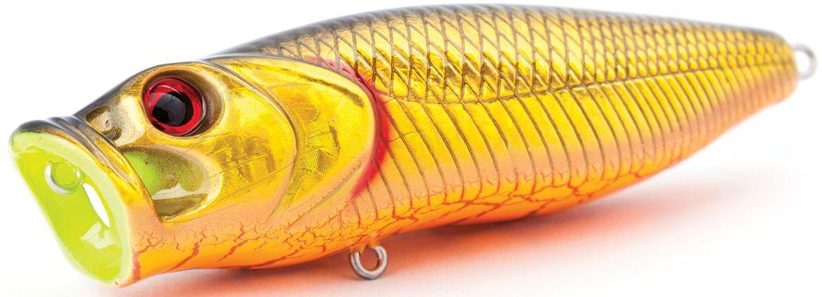 Воблер плавающий Atemi Crazy Pop, цвет: gold black, длина 11,5 см, вес 29 г513-00027Плавающий воблер Atemi Crazy Pop является наилучшей приманкой как для троллинга, так и для ловли в заброс. Рекомендуется для ловли щуки, окуня, форели, басса, язя, голавля, желтоперого судака, жереха. Эта приманка превосходна для ловли рыбы, если ее забрасывать вверх по течению, только обеспечивайте скорость проводки немного быстрее, чем скорость течения. Она также хорошо работает при ловле рыбы против течения, проводите приманку по более глубоким местам, там, где чаще стоят в засаде более крупные экземпляры. Необходимое условие для ловли на Atemi Crazy Pop - чтобы вы использовали правильно подобранную снасть: легкий и чувствительный спиннинг, крошечные застежки и вертлюжки, самую тонкую леску, которой сможете управлять приманкой, чтобы обеспечить ей наилучшую работу.