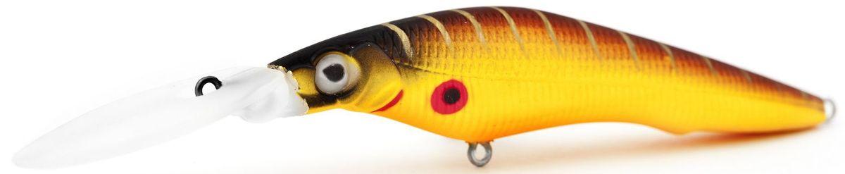Воблер плавающий Atemi Deep Black Widow, цвет: mat tiger, длина 9 см, вес 13,8 г, заглубление 4,5 м513-00141Плавающий воблер Atemi Deep Black Widow рекомендуется для ловли щуки, окуня, форели, басса, язя, голавля, желтоперого судака, жереха. Необходимое условие для ловли на воблер - чтобы вы использовали правильно подобранную снасть: легкий и чувствительный спиннинг, крошечные застежки и вертлюжки, самую тонкую леску, которой сможете управлять приманкой, чтобы обеспечить ей наилучшую работу. Воблер также хорошо работает при ловле рыбы против течения, проводите приманку по более глубоким местам, там, где чаще стоят в засаде более крупные экземпляры. Эта приманка превосходна для ловли рыбы, если ее забрасывать вверх по течению, только обеспечивайте скорость проводки немного быстрее, чем скорость течения. Для озер Atemi Deep Black Widow и водохранилищ является наилучшей приманкой как для троллинга, так и для ловли в заброс.Заглубление: 4,5 м.