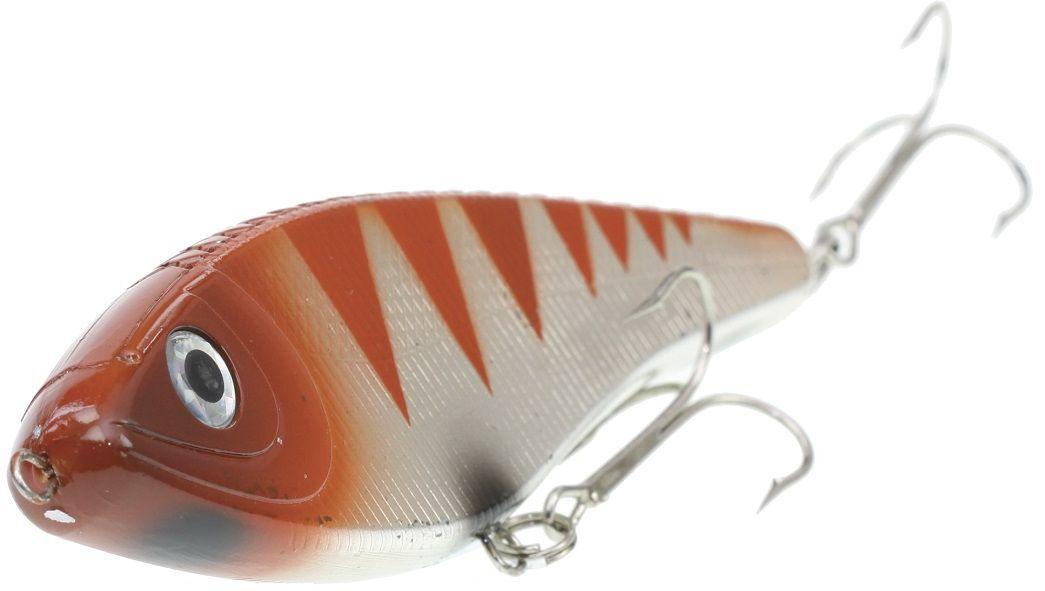 Джеркбейт Blind Derky Jerk, цвет: оранжевый, серый, длина 15 см, вес 70 г4271825Джеркбейт Blind Derky Jerk - это приманка, для которой характерна проводка с чередованием рывков и остановок, в противном случае изделие из-за большого веса и размера пойдет ко дну. Подобная скачкообразная игра привлекает хищных рыб и выманивает их с глубины. Рекомендуется для ловли - щуки, окуня, форели, басса, язя, голавля, желтоперого судака, жереха.