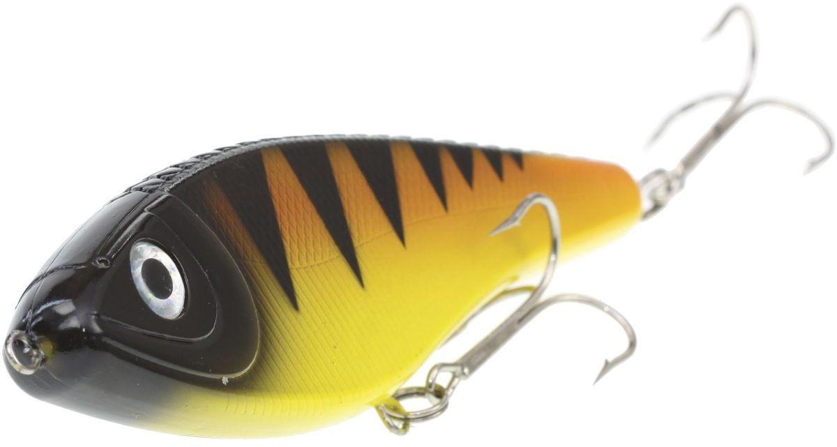 Джеркбейт Blind Derky Jerk, цвет: оранжевый, черный, желтый, длина 15 см, вес 70 гBKY-15009Джеркбейт Blind Derky Jerk - это приманка, для которой характерна проводка с чередованием рывков и остановок, в противном случае изделие из-за большого веса и размера пойдет ко дну. Подобная скачкообразная игра привлекает хищных рыб и выманивает их с глубины. Рекомендуется для ловли - щуки, окуня, форели, басса, язя, голавля, желтоперого судака, жереха.