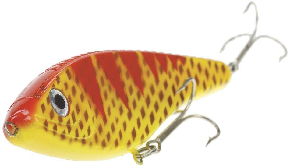 Джеркбейт Blind Derky Jerk, цвет: желтый, красный, длина 15 см, вес 70 гBKY-15010Джеркбейт Blind Derky Jerk - это приманка, для которой характерна проводка с чередованием рывков и остановок, в противном случае изделие из-за большого веса и размера пойдет ко дну. Подобная скачкообразная игра привлекает хищных рыб и выманивает их с глубины. Рекомендуется для ловли - щуки, окуня, форели, басса, язя, голавля, желтоперого судака, жереха.