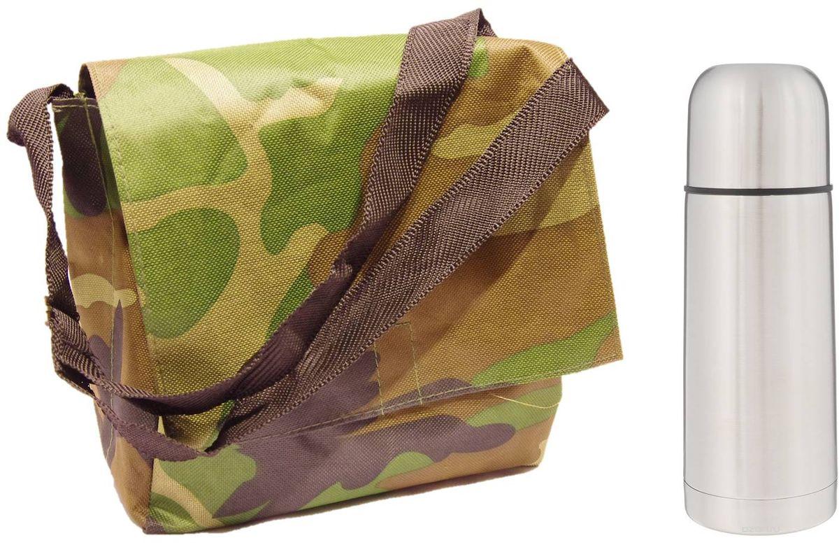 Набор Arctix, цвет: зеленый, коричневый, 2 предмета. ТТС-07035ТТС-07035НаборArctix включает в себя термос и туристическую сумку. Термос изготовлен из высококачественной нержавеющей стали. Двухслойный корпус сохраняет температуру на срок до 24 часов. Термос предназначен для горячих и холодных напитков. Вакуумный закручивающийся клапан предохраняет от проливаний, а удобная кнопка-дозатор избавит от необходимости каждый раз откручивать крышку. Крышку можно использовать как чашку. Сумка выполнена из прочного текстиля и оснащена плечевым ремнем. Изделие имеет 1 вместительный карман, закрывающийся клапаном на липучке.Размер сумки: 23 х 12 х 22 см.Диаметр горлышка: 4,5 см.Диаметр основания термоса: 6,5 см.Высота термоса: 19,5 см.