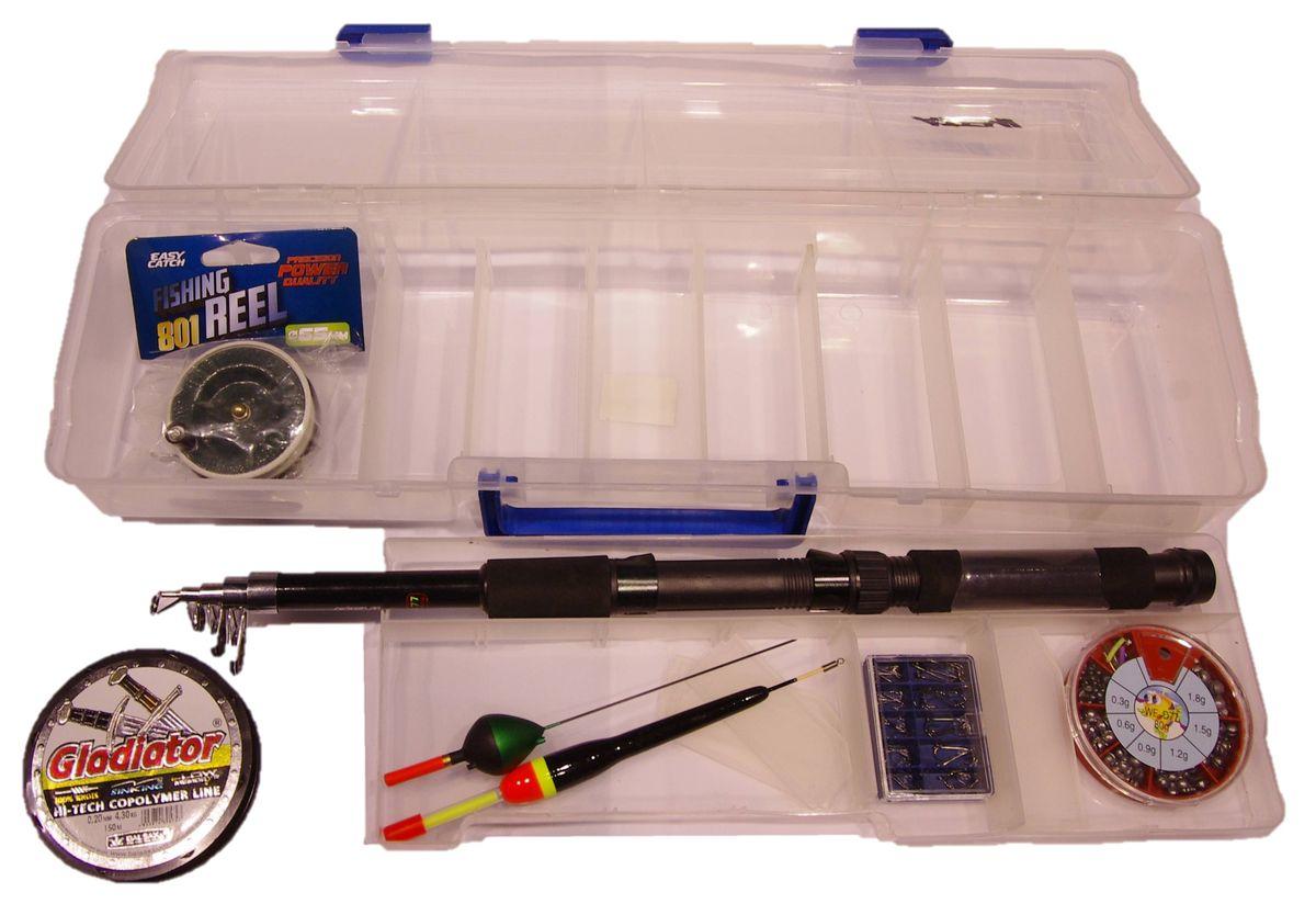 Набор для рыбалки Atemi, 6 предметовП909-00112Комплект Atemi отлично подойдет в качестве подарка для рыболова. В набор входит пластиковый кейс, удилище спиннинговое телескопическое Atemi Classix с неопреновой ручкой, катушка, поплавок, леска, набор грузов и набор крючков.