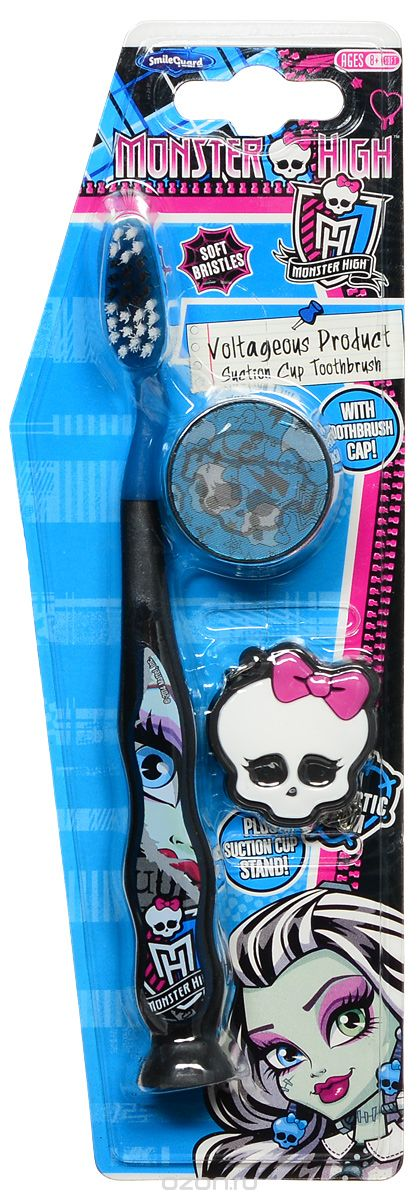 Monster High Зубная щетка на присоске с защитным колпачком и брелоком Voltageous5010777139655Детская зубная щетка на присоске с защитным колпачком Monster High Voltageous идеальна для детского ротика. Щетка имеет эргономичную ручку с присоской, небольшую чистящую головку, цветовое поле мягкой щетины для оптимального дозирования пасты.Ручка оформлена изображением героя мультсериала Monster High. В комплекте с щеткой идет защитный колпачок с меняющимся при наклоне изображением, а также брелок в виде черепа.
