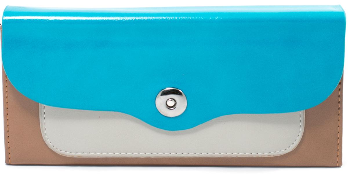 Кошелек женский Mitya Veselkov, цвет: синий, коричневый. K4-BLUBROERJAA03224-WBT0Женский кошелек отличного дизайна от модного бренда Mitya Veselkov. Купюры вмещаются в полную длину. Закрывается кошелек на кнопку. Внутри расположено два больших отделения для купюр, кармашки для пластиковых карт и визиток, одно отделение для мелочи.Такой кошелек стильно дополнит ваш образ и станет незаменимым аксессуаром.