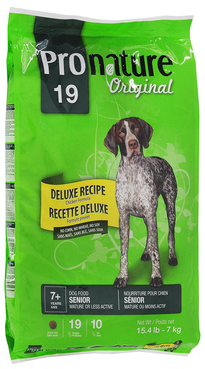 Корм сухой Pronature Original 19 для пожилых собак, с цыпленком, без сои, пшеницы, кукурузы, 7 кг0120710Повзрослев и став менее активной, ваша собака по-прежнему нуждается в тщательно подобранном рационе с учетом физиологических потребностей и вкусовой избирательности. Приготовленная с вниманием и заботой формула корма Pronature Original 19 с курицей, без кукурузы, пшеницы и сои, содержит в себе все питательные вещества, необходимые для поддержания здоровья и внешнего вида. Формула Pronature Original 19 - для прекрасного самочувствия вашего питомца!Товар сертифицирован.