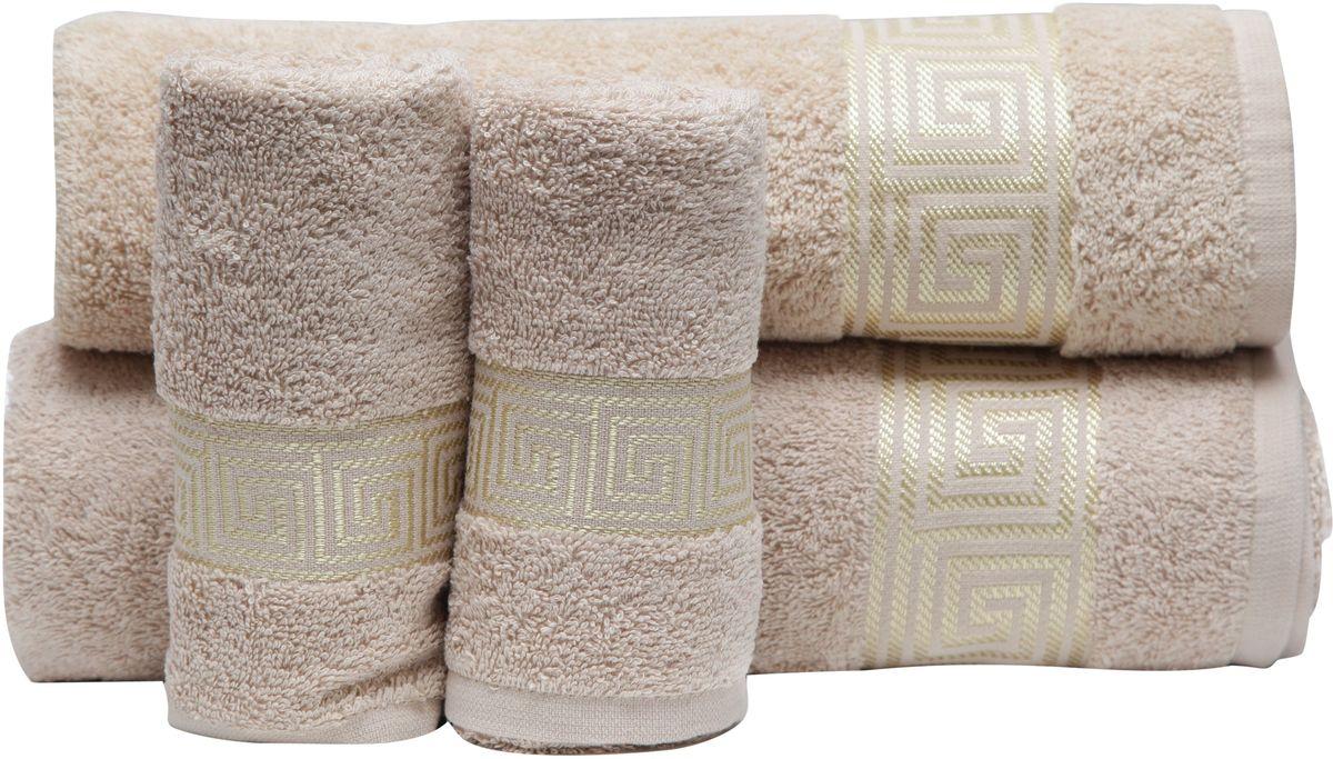 Набор полотенец Proffi Home, цвет: бежевый, 4 шт. PH839400000004888При изготовлении махровых полотенец используется качественный 100 % хлопок. Махровые полотенца будут приятным добавлением в интерьере ванной комнаты. Мягкое махровое полотенце отлично впитывает влагу и быстро сохнет, детям приятно в него завернуться после принятия ванны или посещения сауны.