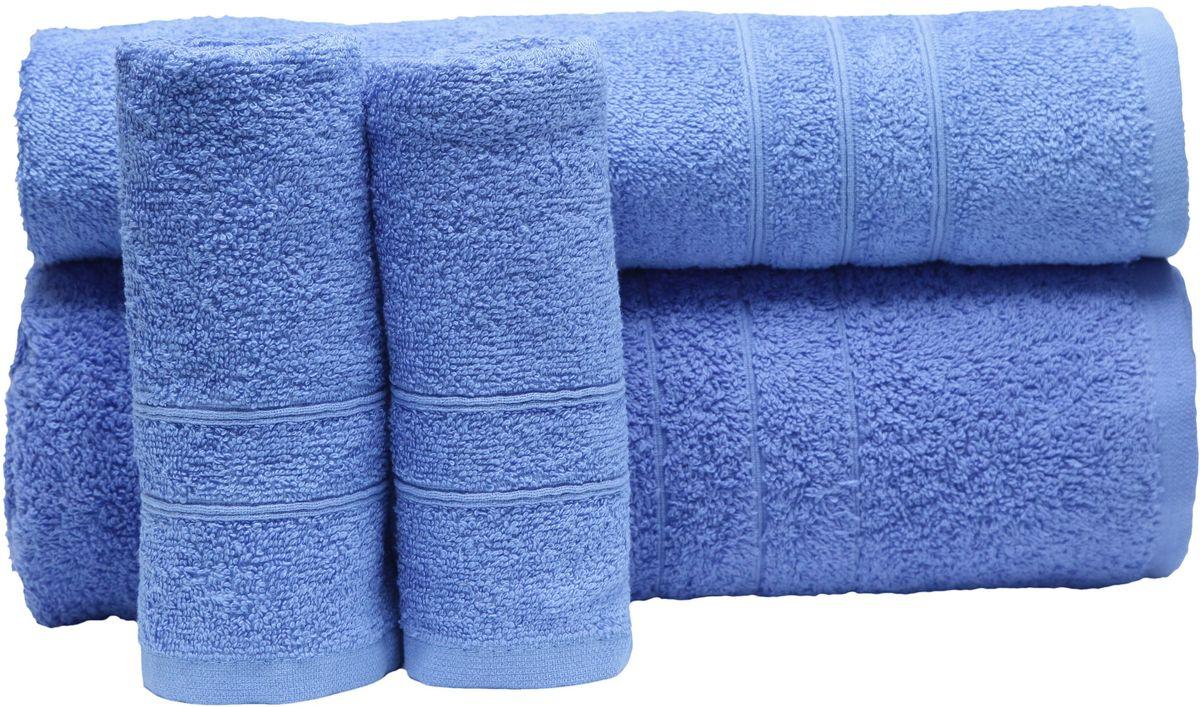 Набор полотенец Proffi Home, цвет: синий, 4 шт. PH839410503При изготовлении махровых полотенец используется качественный 100 % хлопок. Махровые полотенца будут приятным добавлением в интерьере ванной комнаты. Мягкое махровое полотенце отлично впитывает влагу и быстро сохнет, детям приятно в него завернуться после принятия ванны или посещения сауны. Набор их 4 махровых полотенец разных размеров (70*140, 50*100, 30*50 - 2 шт) будет отличным подарком на любой праздник.