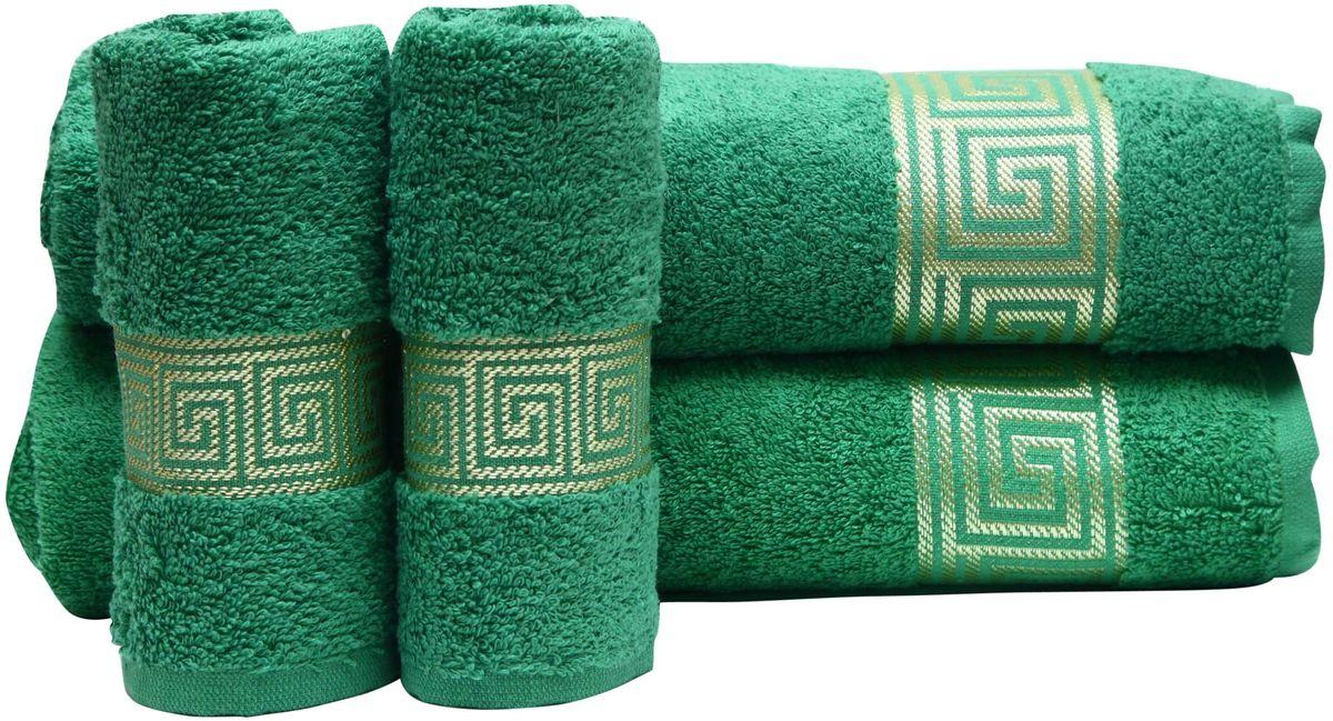 Набор полотенец Proffi Home, цвет: зеленый, 4 шт. PH8394391602При изготовлении махровых полотенец используется качественный 100 % хлопок. Махровые полотенца будут приятным добавлением в интерьере ванной комнаты. Мягкое махровое полотенце отлично впитывает влагу и быстро сохнет, детям приятно в него завернуться после принятия ванны или посещения сауны.
