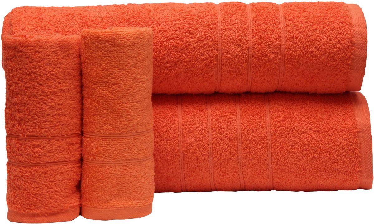 Набор полотенец Proffi Home, цвет: оранжевый, 4 шт. PH8394CLP446При изготовлении махровых полотенец используется качественный 100 % хлопок. Махровые полотенца будут приятным добавлением в интерьере ванной комнаты. Мягкое махровое полотенце отлично впитывает влагу и быстро сохнет, детям приятно в него завернуться после принятия ванны или посещения сауны. Набор их 4 махровых полотенец разных размеров (70*140, 50*100, 30*50 - 2 шт) будет отличным подарком на любой праздник.
