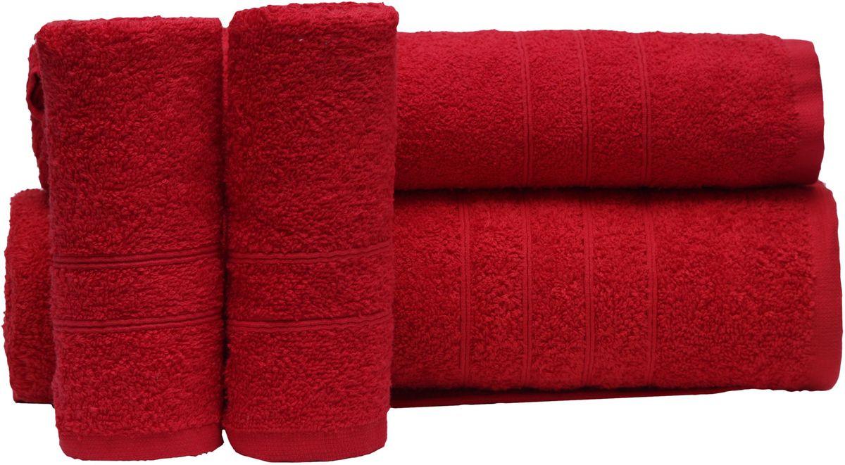 Набор полотенец Proffi Home, цвет: красный, 4 шт. PH839468/5/3При изготовлении махровых полотенец используется качественный 100 % хлопок. Махровые полотенца будут приятным добавлением в интерьере ванной комнаты. Мягкое махровое полотенце отлично впитывает влагу и быстро сохнет, детям приятно в него завернуться после принятия ванны или посещения сауны. Набор их 4 махровых полотенец разных размеров (70*140, 50*100, 30*50 - 2 шт) будет отличным подарком на любой праздник.