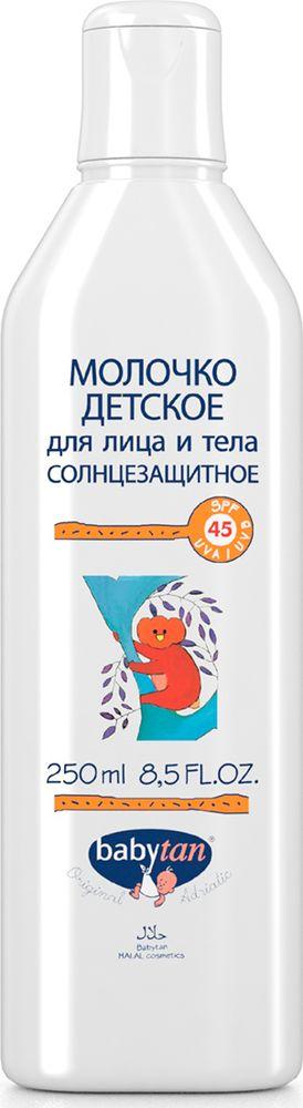Baby Tan Молочко детское для лица и тела солнцезащитное SPF 45 UVA/UVB9470100% натуральная косметика. Молочко эффективно защищает чувствительную детскую кожу от вредного воздействия солнечных лучей UVA и UVB диапазонов. Оливковое масло холодного отжима и масло какао питают и предохраняют кожу от обезвоживания и ожогов. Эфирные масла апельсина, кокоса и масло манго, помимо уникальных действий на кожу, придают молочку приятный аромат.