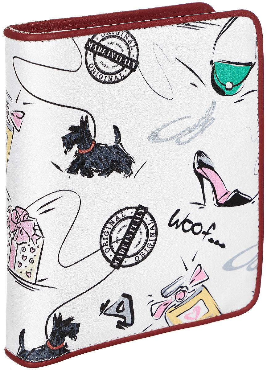 Визитница женская Curanni Сони, цвет: белый, красный. п106392678Стильная визитница изготовлена из высококачественной кожи с оригинальным рисунком. Внутри: два сетчатых кармана, два открытых кармана, блок прозрачных кармашков для пластиковых карт.