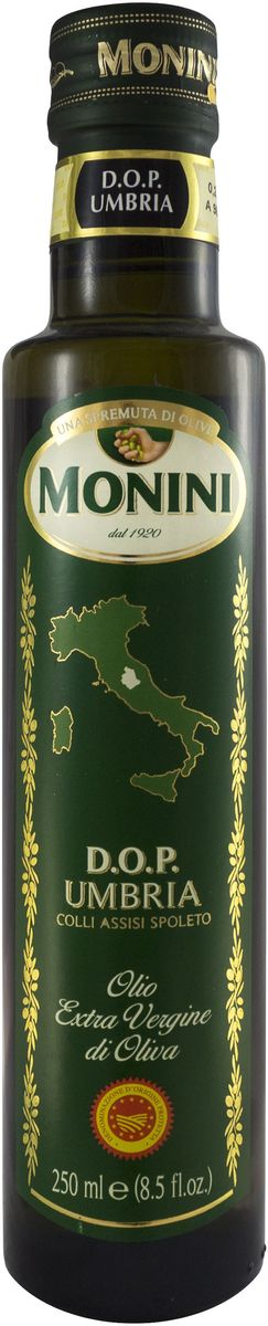 Monini Dop Umbria масло оливковое Extra Virgin, 250 мл0120710Оливковое масло производится исключительно из оливок, собранных и прессованных в Умбрии.