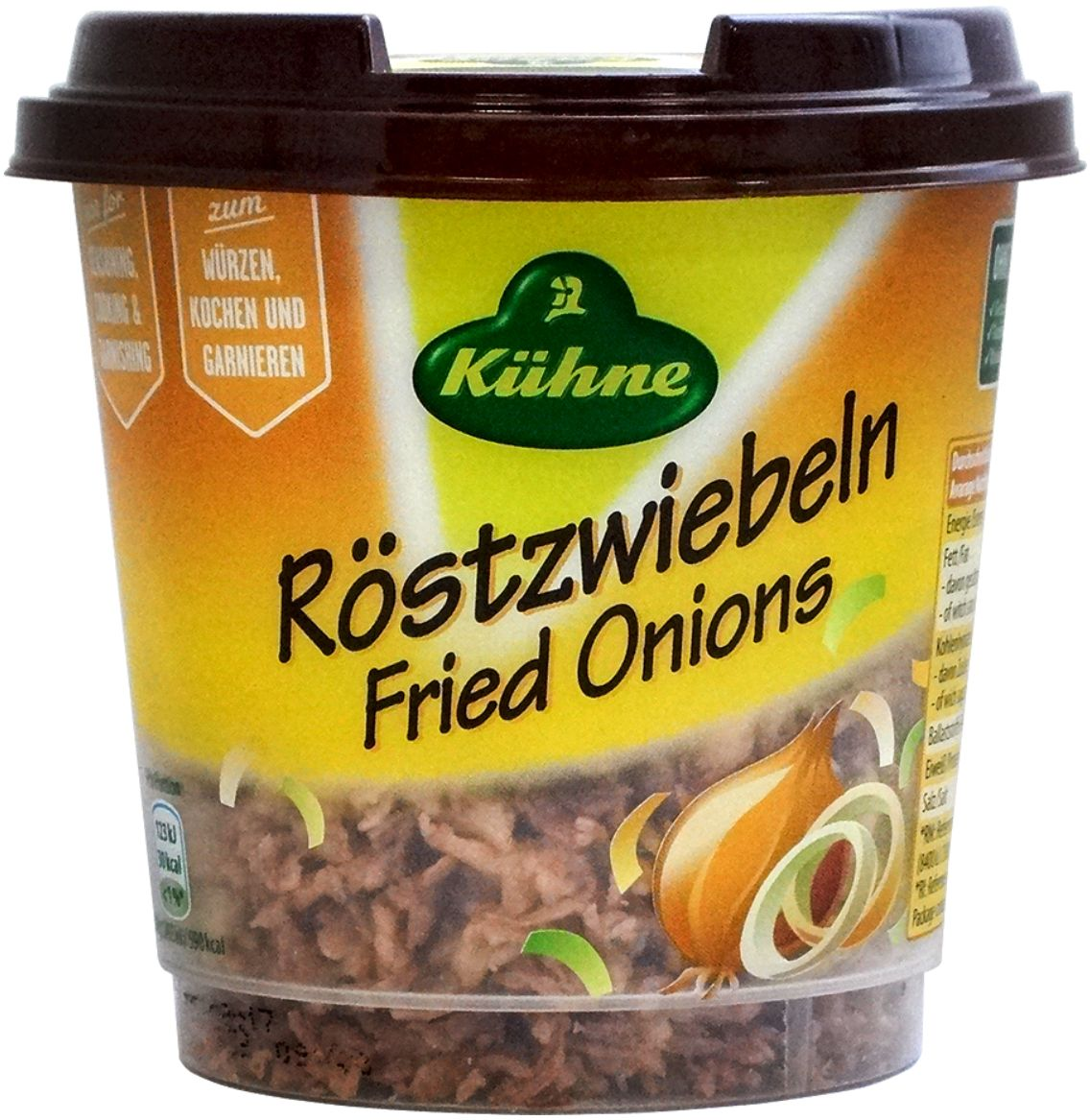 Kuhne жареный лучок, 100 г72219Приготовленный таким образом лук подают как гарнир для жареного мяса или добавляют в различные начинки пирожков.