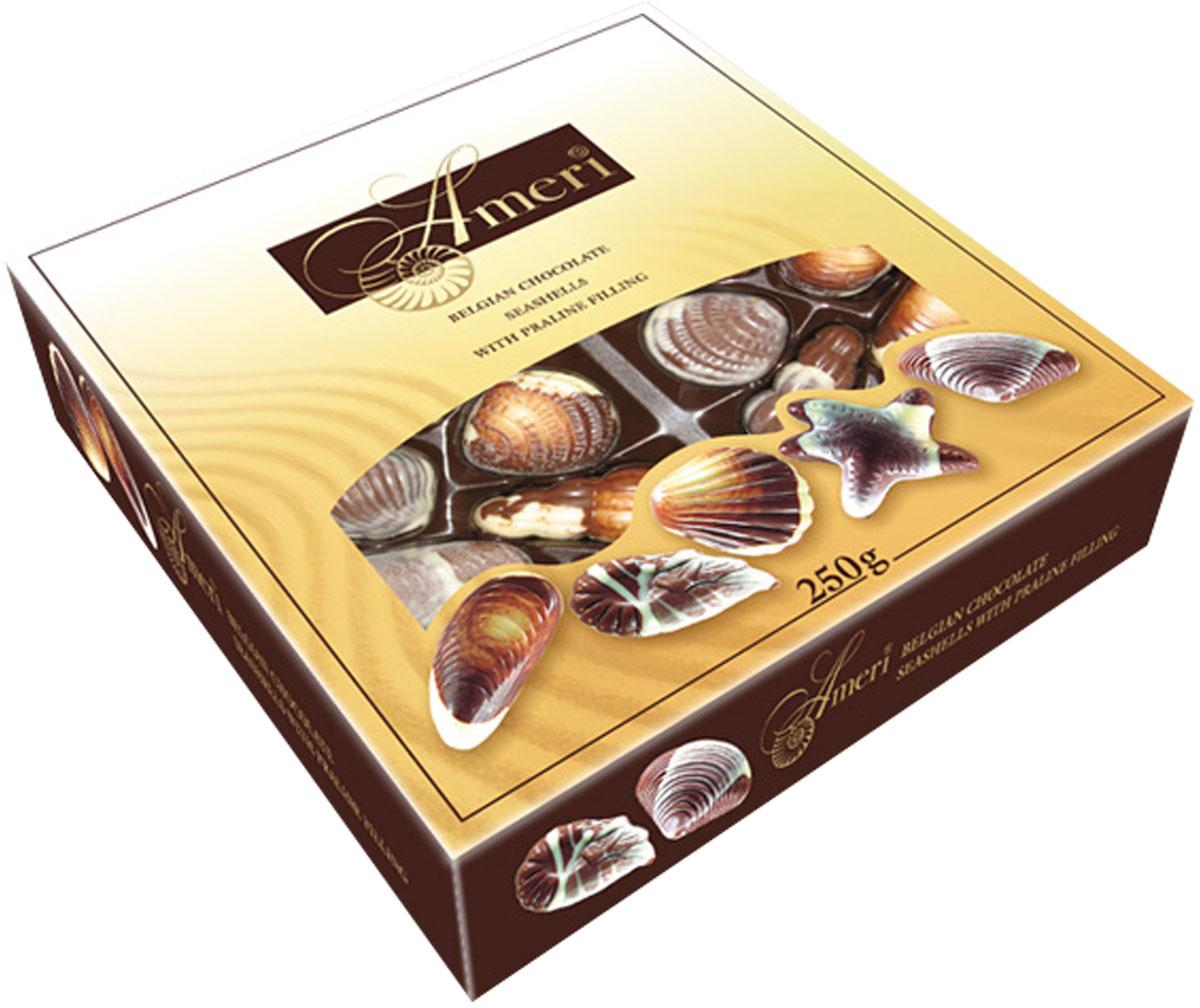 Ameri Шоколадные конфеты-ракушки с начинкой пралине, 250 г5844Торговая марка Амери, производящая изысканный сладкий ассортимент, знакома всем любителям темного шоколада. Все гурманы десертов и убежденные сладкоежки знают и любят продукцию Амери. Кондитерская фабрика создает шоколад, который можно по праву отнести к продукции премиального сегмента. Настоящие шоколадки от Амери не только вкусные, но также очень красивые. Выглядят настолько привлекательно, что достойны украсить роскошный праздничный стол. Рецептуры, по которым производятся эти сладости - уникальна. Каждый рецепт разрабатывается силами своих технологов и может служить визитной карточкой кондитерского предприятия. С большим вниманием сотрудники компании относятся к разработке вкусов. Основываясь на изучении потребительских предпочтений и последних тенденциях сладкого рынка, они создают новые продукты, в которых удачно сочетаются инновации и традиции. Поэтомупотребителю каждый раз приятно и интересно, когда он разворачивает шоколадку от Амери.
