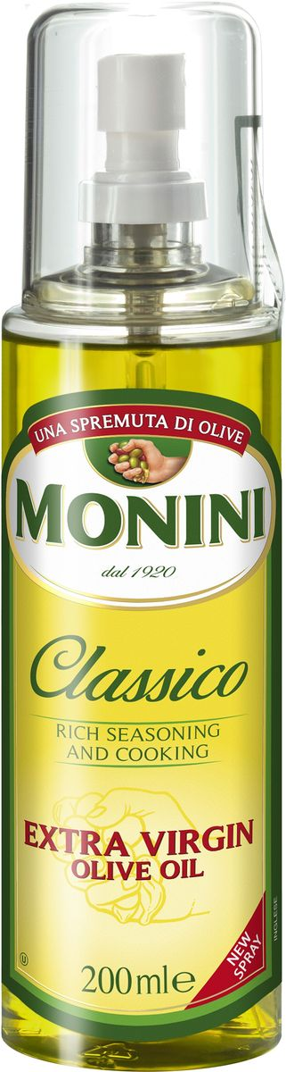 Monini масло оливковое Extra Virgin спрей, 200 мл0120710Оно с успехом заменяет собой обычное масло из семян подсолнуха для жарки любых продуктов, а также идеально подходит для салатов. Бутылочка оборудована удобным спреем-дозатором.